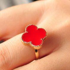 Vintage Delightful Oil Drip Flower Shaped Finger Rings For Women
