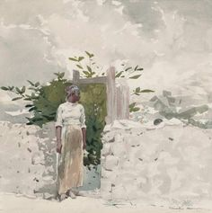 """Winslow Homer """"Woman Standing by a Gate, Bahamas."""" Museum of Fine Arts, Boston."""