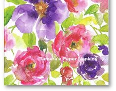 Decoupage Napkins, 4 Single Paper Napkins, WATERCOLOUR GARDEN Floral 33cm 13 Inch. 1500 Designs for Papercraft, Visual Arts and Collage