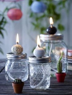 Vasen, Öllampen und Besteckhalter: DIY-Ideen mit Gläsern Vases, oil lamps and cutlery holders: DIY ideas with glasses Mason Jars, Mason Jar Crafts, Cutlery Holder, Jar Art, Vase, Easy Home Decor, Diy Candles, Oil Lamps, Tea Lights