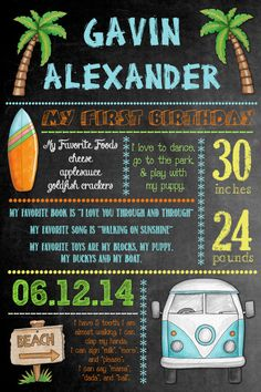 Personalized 1st Birthday Chalkboard Sign Printable -  Surf Shack by PhotoGreetings, $25.00