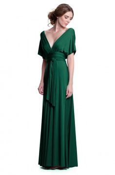 Sakura Long Convertible Dress Emerald Green