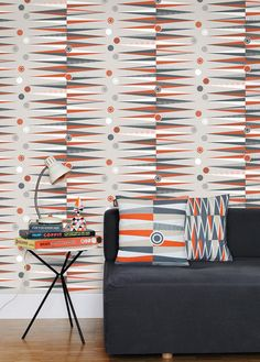 Design & Interior Decoration - London Design Festival 2012 - Backgammon Wallpaper with Matching Pillows of Mini Moderns Wallpaper For Sale, Cover Wallpaper, Orange Wallpaper, Graphic Wallpaper, Retro Wallpaper, Midcentury Wallpaper, Wallpaper Designs, Wallpaper Online, Vinyl Wallpaper