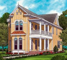 Victorian Farmhouse | House Plan 53796 | Farmhouse Narrow Lot Victorian Plan with 2224 Sq ...