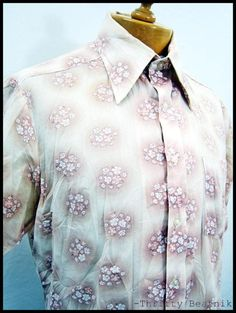 Vintage 1970s 70s Floral Dress / Casual Disco Shirt XL | eBay