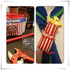 Fun and easy slide just in time for popcorn… Cub Scout Crafts, Cub Scout Activities, Craft Activities, Cub Scouts Bear, Girl Scouts, Boy Scout Popcorn, Popcorn Theme, Boy Scout Camping