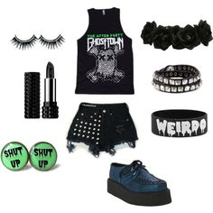 """""""Punky emo outfit thing"""" by vicious-empyrean on Polyvore Ghost town tank top and an outfit to go with it <3"""