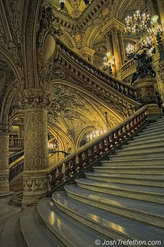 Such amazing architecture at The Paris Opera. Baroque Architecture, Beautiful Architecture, Beautiful Buildings, Architecture Details, Beautiful Places, Ancient Architecture, Paris Opera House, Grand Staircase, Stairway To Heaven