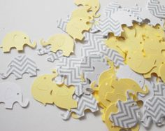 Yellow & Gray Elephant Confetti Baby Shower by LilpawsPaperArt