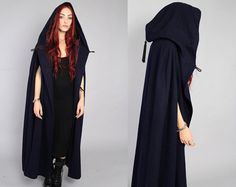 Vtg 60s Navy Wool Hooded Cape Cloak Coat S M L OS by theindustry, $271.00