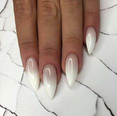 nude and white ombre nail polish, cute easy nail designs, long stiletto nails Do you get overwhelmed when choosing you manicure? We have gathered 100 best nail designs suitable for every nail shape to help you choose your favourite. Cute Simple Nails, Cute Summer Nails, Fun Nails, Summer Toenails, Stylish Nails, Trendy Nails, Ombre Nail Polish, Gel Nail, Shellac Manicure