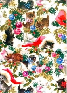 Vintage 1970's Christmas Gift Wrap  White Kittens by GreenEyedGoat