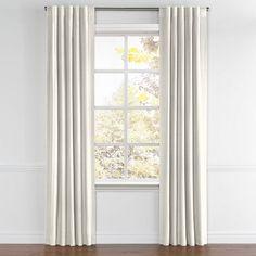 Flecked Light Gray Linen Back Tab Curtains | Loom Decor