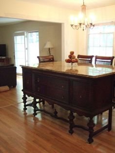 Kitchen Island made from old buffet and a piece of granite | Kitchen ...