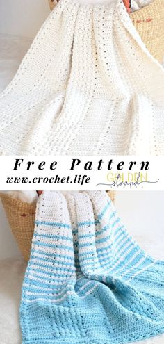 Free Blanket Pattern Free Blanket Pattern,All Crochet patterns Crochet blanket pattern full of texture and stripes perfect for a nursery or a cozy throw. Free crochet pattern by GoldenStrandStudi… / Crochet. Free Baby Blanket Patterns, Baby Boy Crochet Blanket, Crochet Baby, Baby Afghans, Baby Blankets, Crochet Blankets, Afghan Patterns, Hat Patterns, Crochet Afghans