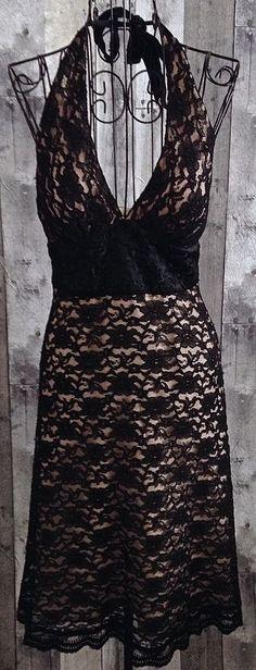 White House Black Market Lace Satin Embroidered Dress Halter Lined Size 2 #WhiteHouseBlackMarket