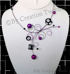 purple necklace, blackpolka dot necklace, unique design, bridal jewelry,funky necklace,bridesmaids gift ,mothers days gifts, wedding jewelry...