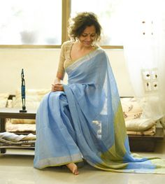 Linen Sarees - Handloom Linen- French Blue Sky And A Thin Strip Of Pear Orchard With A Dull Gold Fence So Scenic With Pear Green Blouse Piece By Suta PC 19754 - Thumbnail