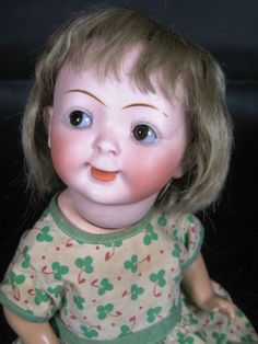 Rare Antique German Hertal Schwab Mold 165 Googly Eyed Bisque Head Doll
