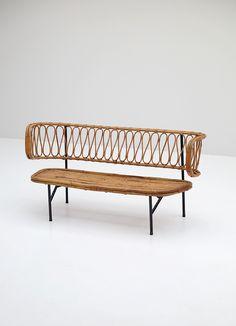 Rattan settee from Dirk van Sliedregt 1956 - City-furniture.be Design City Furniture, Wicker Furniture, Outdoor Furniture, Outdoor Decor, Settee, Rattan, Bench, Mid Century, Van
