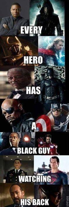 Superhero funny meme. Black guys in movies