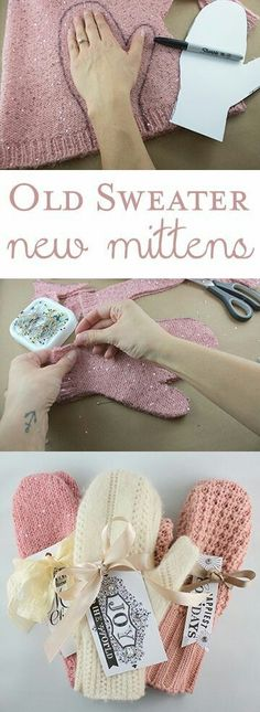 DIY Christmas Gifts – My Honeys Place DIY Sweater Mittens Christmas Gift. Take an old sweater and make new mittens. Fabric Crafts, Sewing Crafts, Alter Pullover, Diy Pullover, Pullover Upcycling, Sweater Mittens, Old Sweater Diy, Sweater Refashion, Diy Clothes Refashion