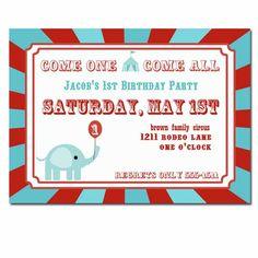 Circus Party invitations