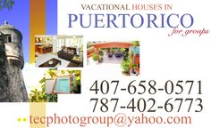 Hello;  I have 2 houses  http://youtu.be/nUw7ANqLTqQ with van or minivans. Sleep like 20  In San Juan  http://youtu.be/JVKOKKx4jRg at 5 miles airport, road 181 Expreso Trujillo Alto Sleep like 35  Minivan $60 day, Car $30 & $40, Van (13 pass) $95 day rental in San Juan & ORlando FL. Hablo espanol. NO CHARGE FOR MILEAGE, NO HIDDEN FEES, NO CREDIT CARD NEEDED, ONLY DRIVER LICENSE AND A BILL SHOWING ADRESS.    Michael Pietri also on facebook or  linkedin at (787)402-6773 or (407)658-0571 or…