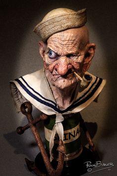 #Popeye. El  maquillador #Rick Baker creó esta genial escultura hiper realista de #Popeye.