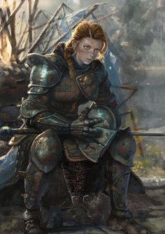 pin by shirru on fantasy characters, female knight - warrior woman painting Fantasy Warrior, Fantasy Rpg, Fantasy Artwork, Woman Warrior, Dnd Characters, Fantasy Characters, Female Characters, Female Armor, Female Knight