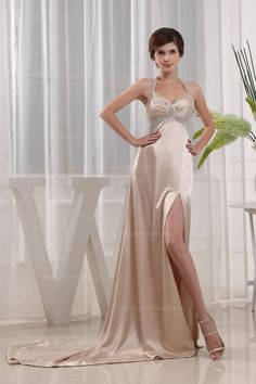 Sexy Halter Neck Slim A-Line With Splits On The Skirt Chapel Train gowns Dress