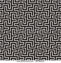 Maze Tangled Lines Contemporary Graphic. Abstract Geometric Background Design. Vector Seamless Black and White Pattern.