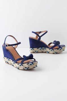 Miss Albright Coiled Cobalt Wedges - Love that bow!