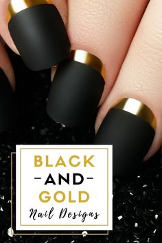 Black And Gold Nail Designs>> http://declarebeauty.com/nails/black-gold-nail-designs/