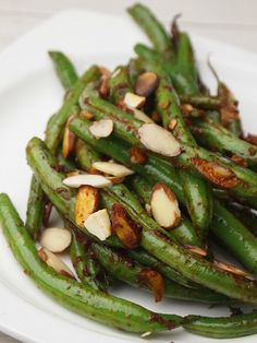 Pan Charred Green Beans with Harissa and Almonds