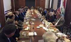 The Speaker in the House of Representatives Saleem Al Jubouri met with a number of senior American and Iraqi businessmen to empower the Iraqi economy.