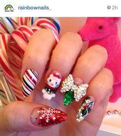 Christmas nail idea- without hello kitty