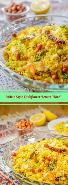 """Cauliflower lemon rice with farro is a south Indian style dish that is spicy, tangy and so tasty. The light and fluffy cauliflower """"rice"""" is paired with the chewy bite of farro, all wrapped in a lemony taste and aromatic spices."""