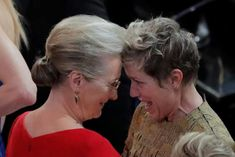 A lovely moment captured here as Meryl Streep congratulates Frances McDormand on winning the best actress Oscar.