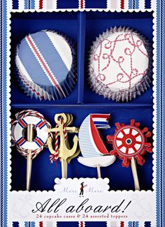 Nautical Cupcake Kit - perfect for the 4th of July, Memorial Day, Labor Day or... My birthday. :)