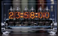 Nixie tubes clocks animated gifs time watches tubes neon light digits electric electronic clock steampunk NixiModerne vacuum fluorescent dis...