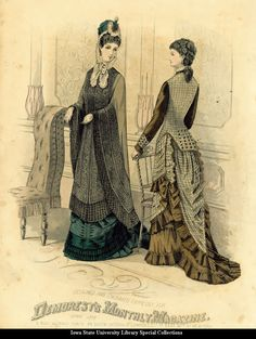 Day dress and evening mantle, 1877 England, Demorest's Monthly Magazine