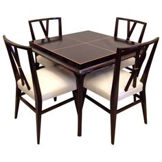 Tommi Parzinger Rare Table and Four X Chairs | From a unique collection of antique and modern dining room sets at https://www.1stdibs.com/furniture/tables/dining-room-sets/