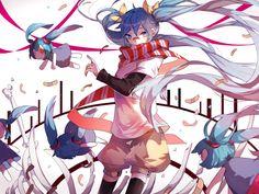 Konachan.com - 223470 arifureta_sekai_seifuku_(vocaloid) blonde_hair hatsune_miku long_hair saegusa_(ainginging) scarf shorts thighhighs twintails vocaloid.jpg (1600×1200)