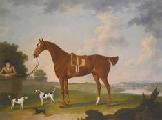 THOMAS STRINGER KNUTSFORD, CHESHIRE 1722 - 1790 THOMAS EGERTON'S CHESTNUT HUNTER WITH A GROOM AND TWO HOUNDS AND A TERRIER IN A RIVER LANDSCAPE signed and dated lower right: TStringer/ 1770. The pedestal bears the arms of Thomas Egerton. Oil on canvas. Sotheby's