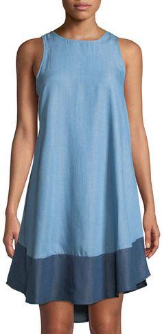c369641bc4 Chelsea   Theodore Sleeveless Chambray Tunic Dress w  Contrast Hem