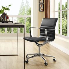 Modway Vi Mid Back Leatherette Office Chair, Multiple Colors, Black Modern Desk Chair, Modern Home Office Furniture, Modern Chairs, Black Office Chair, Swivel Office Chair, Office Chairs, Star Wars, Buy Office, Conference Chairs