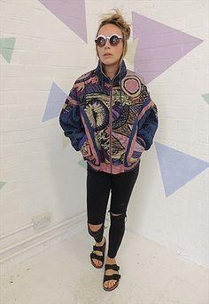 Vintage 90's Blue Crazy print Nylon Shell Jacket
