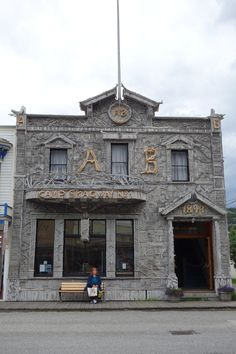 Building in downtown Skagway - Alaska! The facade is made completely out of driftwood!