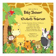 Cute Safari Jungle Animals Baby Shower Invitations Theme